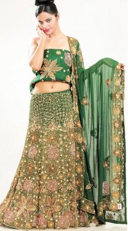 LD1401 Alluring Rama Green Georgette Lehenga Choli