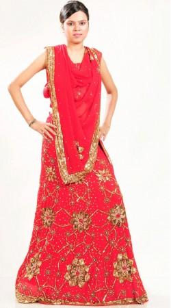 LD1501 Marvelous Red Georgette Lehenga Choli