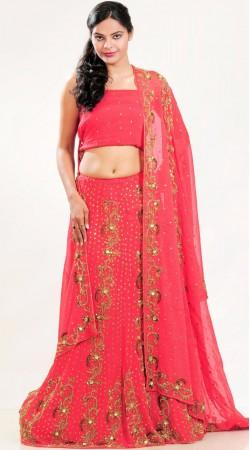 LD1701 Majesty Reddish Pink Shimmer Georgette Lehenga Choli