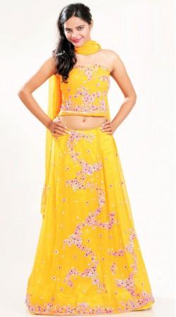 LD3101 Marvelous Yellow Georgette Lehenga Choli