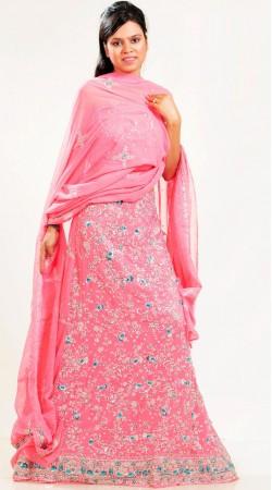 LD3401 Dazzling Light Pink Georgette Lehenga Choli