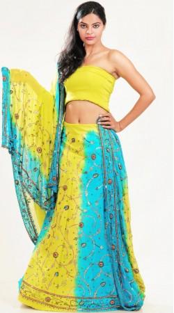 LD3501 Mesmerizing Yellow And Sky Blue Pure Crape Lehenga Choli