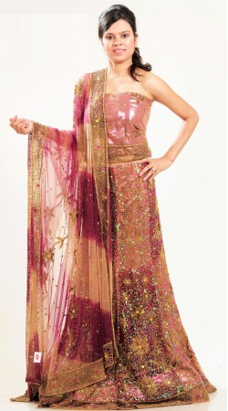 LD3801 Tranquil Pink And Maroonish Magenta Net Lehenga Choli