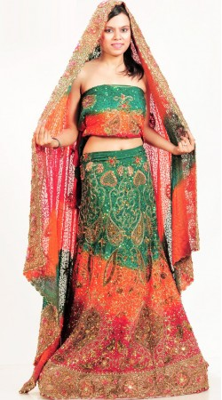 LD4001 Splendorous Multicolor Pure Crape Lehenga Choli