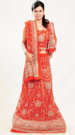 LD4701 Marvelous Bright Red Georgette Lehenga Choli