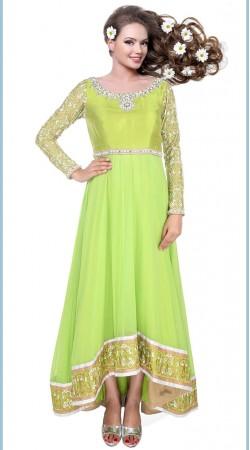 Lemon Green Net Border Embroidered Ankle Length Anarkali Suit SUUDS30104