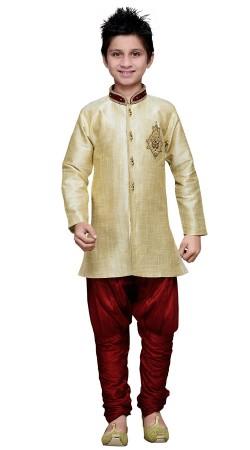 Light Beige Art Silk Kid Boy Sherwani With Breeches Pant GR16912