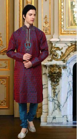 Light Blue And Red Banarsi Brocade Silk Kurta Payjama DTKP11038