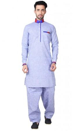 Light Blue Cotton Linen Pathani Suit GR153719