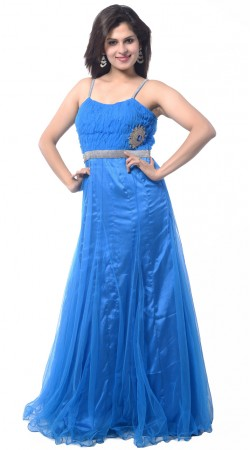 Light Blue Net Long Indowestern Gown
