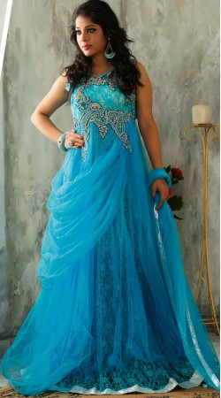 Light Blue Net Readymade Indowestern Gown For Wedding