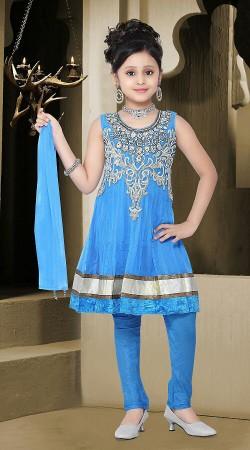 Light Blue Net Readymade Kids Suit DT501229