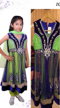 Light Green And Blue Net Readymade Kids Suit DT102429