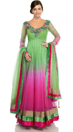 Light Green And Pink Net Floor Length Anarkali Suit SU401