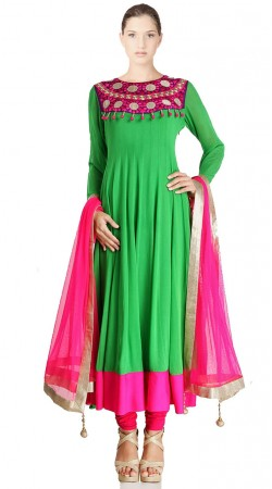 Light Green Georgette Long Length Anarkali Suit SU7001