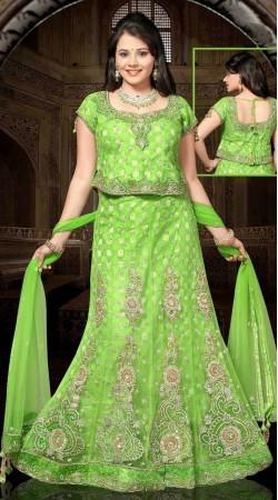 Light Green Net Embroidered Lehenga Choli With Dupatta DT92739