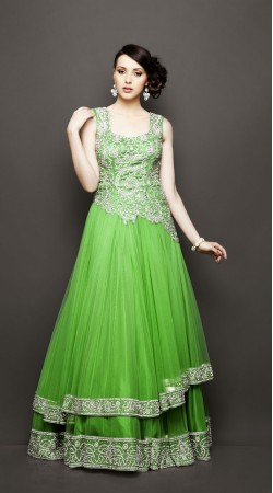 Light Green Net Floor Length Anarkali Suit SU6401