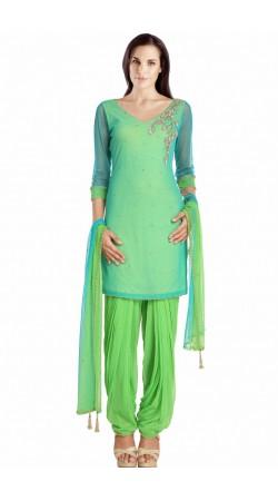 Light Green Net Ready Made Salwar Kameez With Dupatta SUMS812