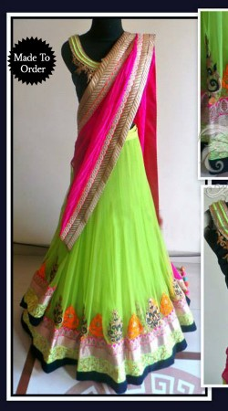 Light Green Net Replica Lehenga Choli With Pink Dupatta SMDS0JJ