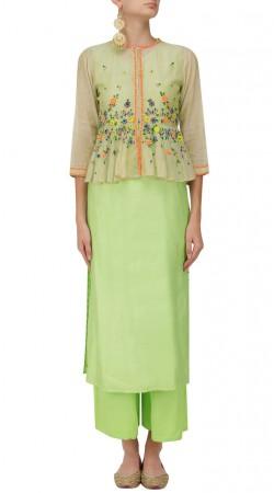 Light Green Palazzo Suit with Peplum Style Koti SUUDS50830