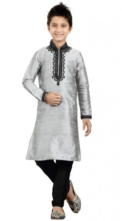 Light Grey Thread Work Kid Boy Kurta Pajama GR22312