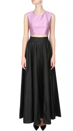 Light Lavender Silk Plus Size Crop Top With Black Skirt SUUDL25825
