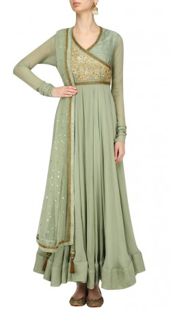 Light Olive Green Silk And Georgette Angrakha Anarkali Suit SUMS36624
