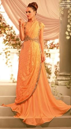 Light Orange Faux Georgette Designer Floor Touch Indowestern Gown BR105791