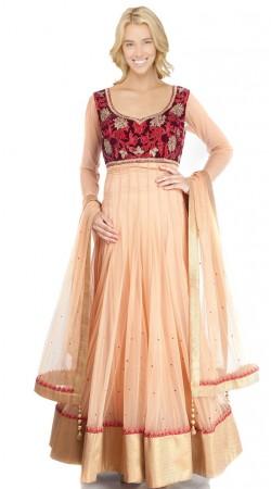 Light Orange Net Ankle Length Anarkali Suit SU4001
