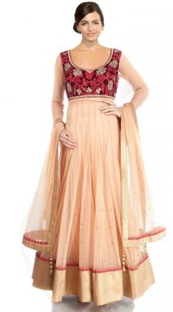 Light Orange Net Floor Length Anarkali Suit SU501