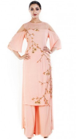 Light Peach Cut Out Shoulder Kameez With Palazzo Pant SUUDS52630