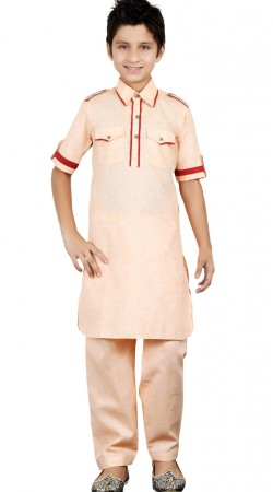 Light Peach Linen Cotton Kid Boy Kurta Pajama GR24213
