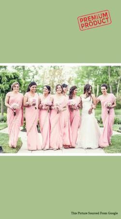 Light Pink Chiffon Saree For Bridesmaid BP0341