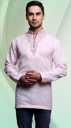 Light Pink Cotton Men Short Kurta With Embroidery Work Neck DTDK463