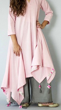 Light Pink Handkerchief Hemline Kameez With Palazzo Pant BP0547