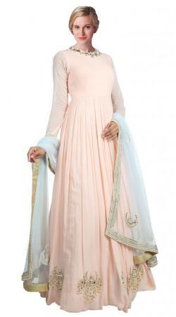 Light Pink Georgette Floor Length anarkali Suit SUUDS18202