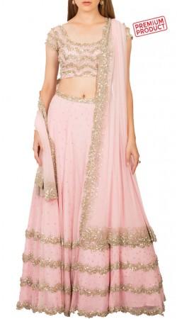 Light Pink Net Sequins Work Designer Lehenga BP1534