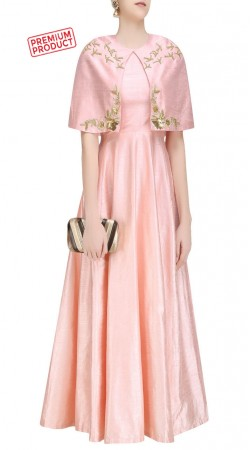 Light Pink Silk Floor Length Anarkali With Attached Cape SUMS33421