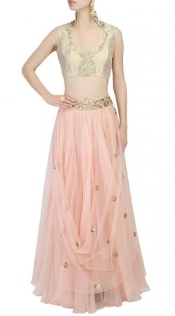 Light Pink Silk Plus Size Crop Top Lehenga SUUDL27827