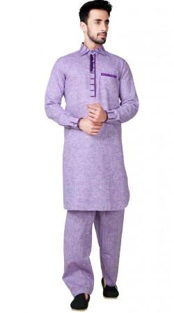 Light Purple Cotton Linen Pathani Kurta Pajama GR153219