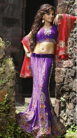 Light Purple Velvet Lehenga Choli LD006103