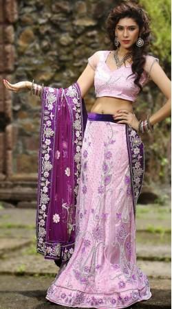 Light Purple Velvet Lehenga Choli LD006203