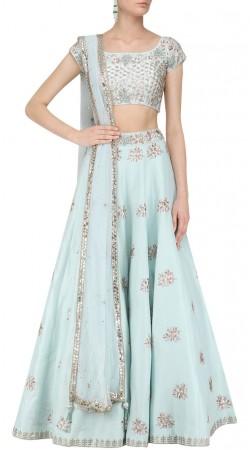 Light Sky Blue Silk Party Wear Crop Top Lehenga SUUDL30131