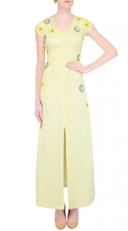 Light Yellow Ankle Length Front Cut Kameez SUUDS43420