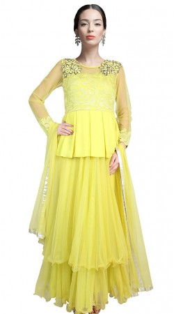 Light Yellow Net Ankle Length Anarkali Suit SUUDS18102