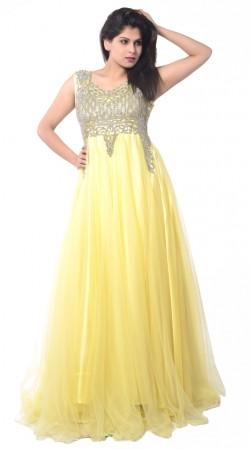 Light Yellow Net Long Gown