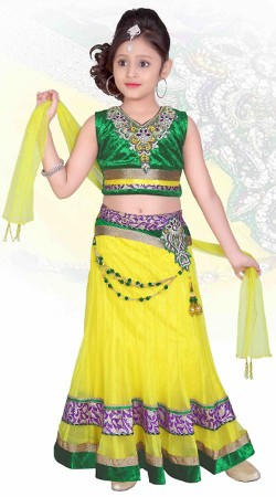 Light Yellow Net Readymade Lehenga DT502129