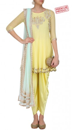 Light Yellow Short Anarkali With Dhoti Pant SUMS29221