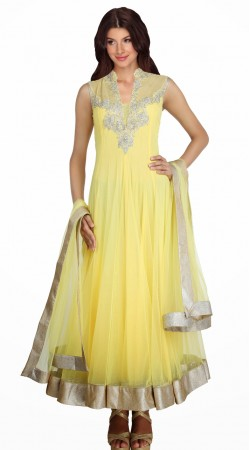 Light Yellow Silver Border Net Readymade Designer Salwar Kameez SU16610