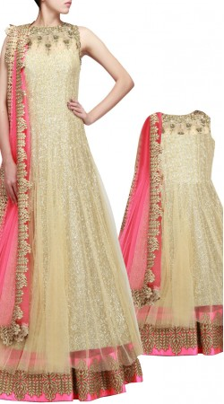 Like Mother Like Daughter Cream Party Wear Anarkali Suit 3FD0808